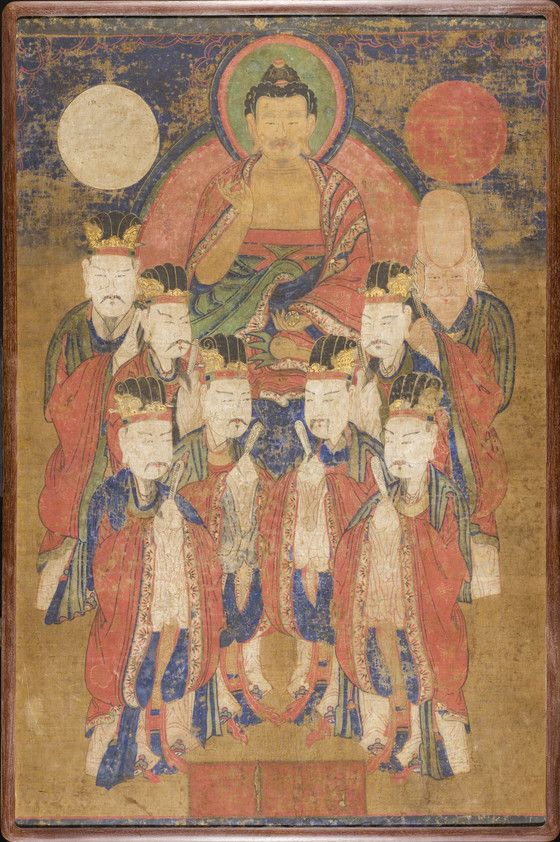 Tejaprabha Buddha  Korea, Korean, Joseon dynasty (1392-1910), late 19th-early 20th century  Paintings  Panel, ink and color on paper  44 1/2 x 29 1/2 in. (113.03 x 74.93 cm)