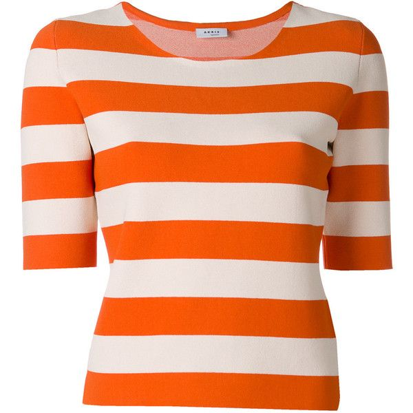 Akris Punto striped T-shirt (2.095 RON) ❤ liked on Polyvore featuring tops, t-shirts, striped tee, orange top, striped t shirt, stripe tee and orange t shirt