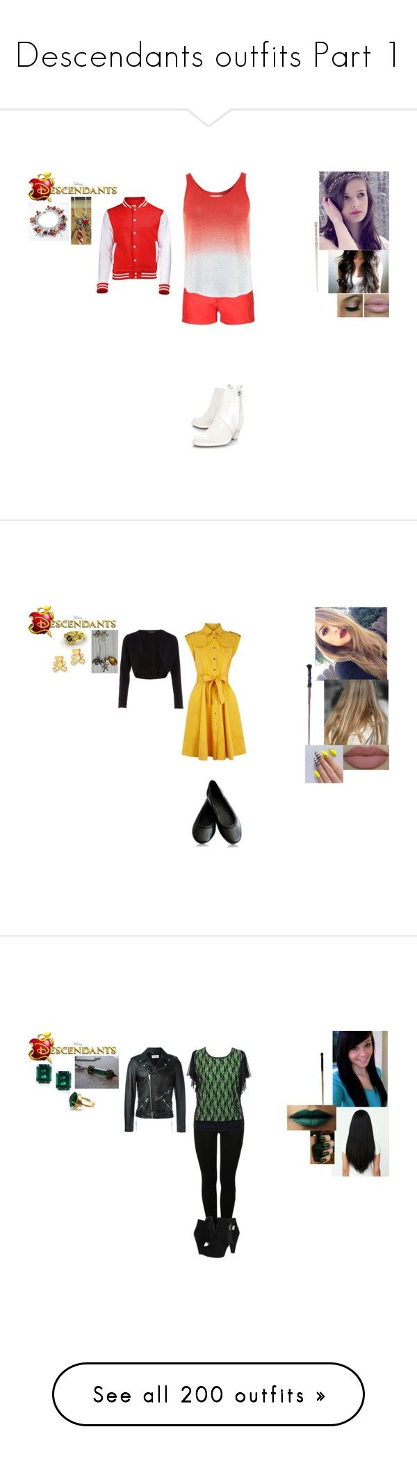 """""""Descendants outfits Part 1"""" by maxinehearts ❤ liked on Polyvore featuring Maxinesdescendants, Sonia Rykiel, Velvet by Graham & Spencer, Acne Studios, Kevin Jewelers, Dorothy Perkins, CARAT* London, MM6 Maison Margiela, Stuart Weitzman and Yves Saint Laurent"""