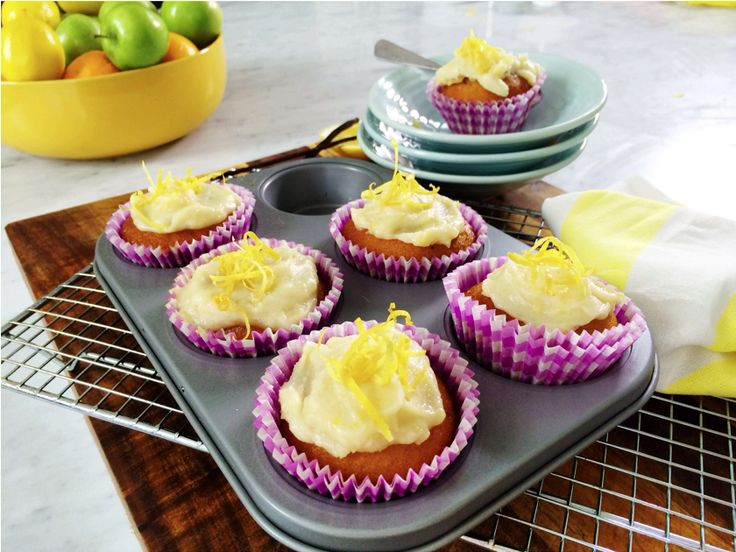 Coconut Chia Seed Muffins with Lemon Frosting (Sub Rice Malt) #Paleo