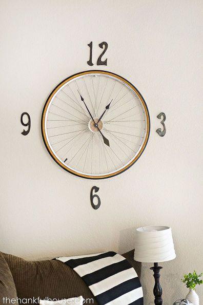 vintage bicycle wheel clock, home decor, repurposing upcycling, wall decor