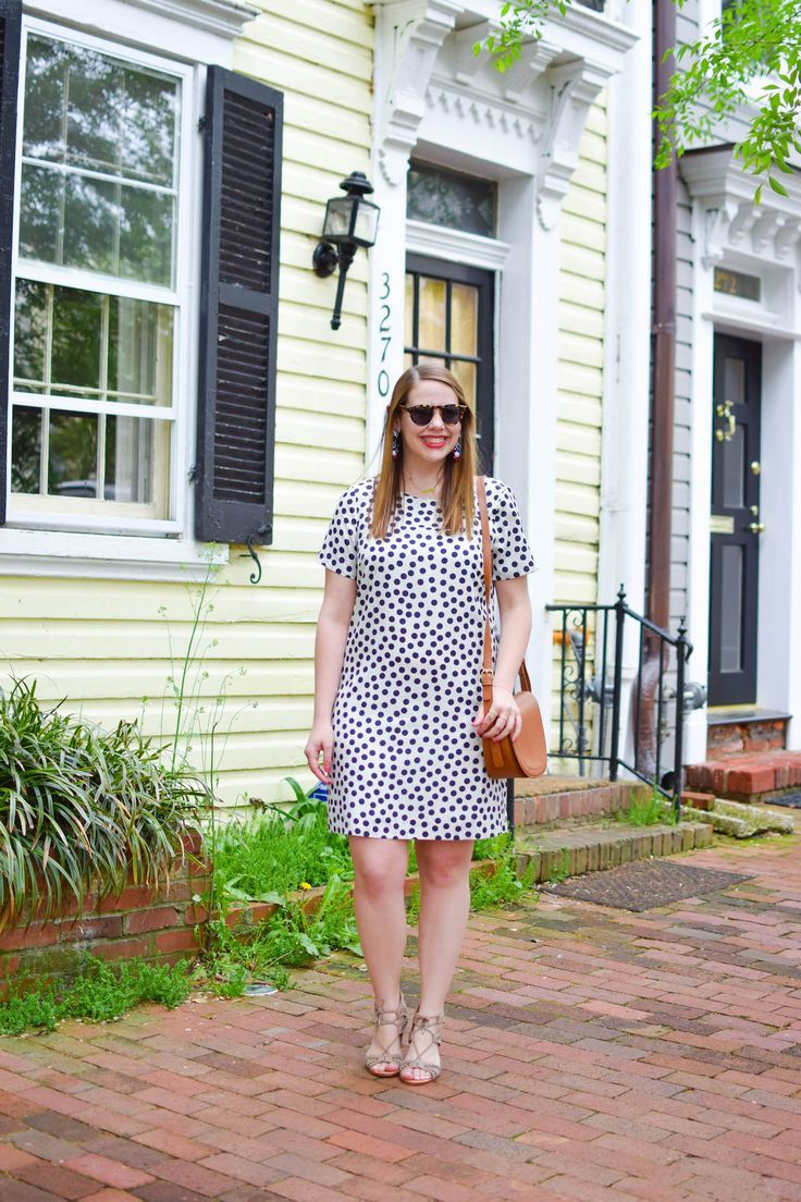 The perfect polka dot shift dress for work.