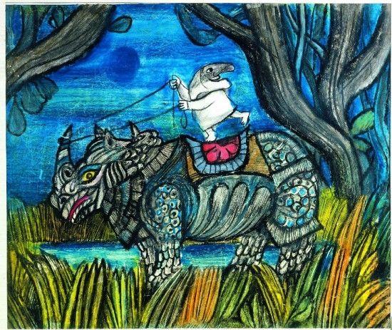 Emanuele Luzzati Illustrazioni, Rinoceronte, Arte