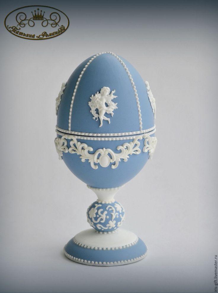 """Купить Яйцо-шкатулка """"Мысли о Веджвуде"""" - подарок девушке, пасхальный сувенир, Пасха, пасхальный подарок"""
