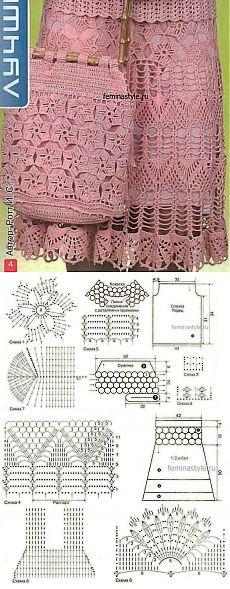 Розовый комплект : кофточка юбка и сумочка связанные крючком / Рукоделие / Домоводство / Женские секреты / Женский стиль