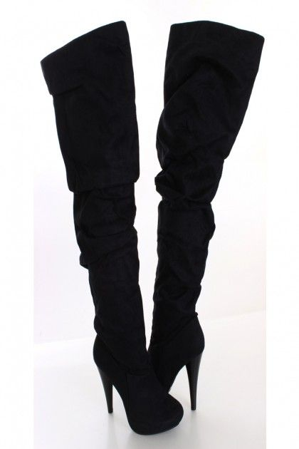 Black Faux Suede Thigh High Boots. i always have a hard time finding boots that fit my small thighs