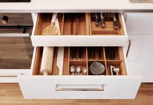 Caj n de la altura de la encimera con otro caj n para - Ikea cubiertos cocina ...