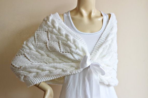 White off Bridal Cape Hand Knit Winter ShrugLace by dreamhouse1