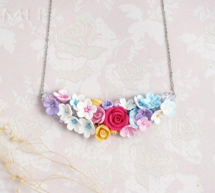 polymer clay necklace, bridal necklace, handmade flower necklace, floral, beadembroidery, beadembroidered necklace, fimo náhrdelník, korálková výšivka