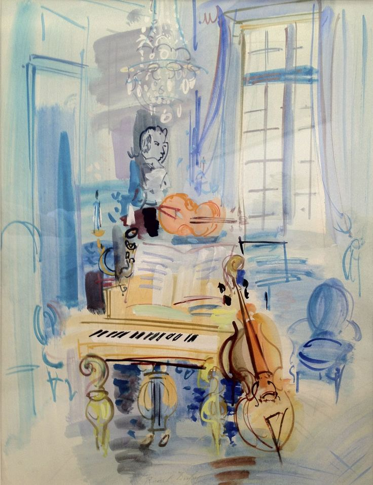 Raoul Dufy (French, 1877–1953)  Interieur aux instruments de musique. circa 1940  Watercolor, Gouache  25.59 х 19.69 in. cm.