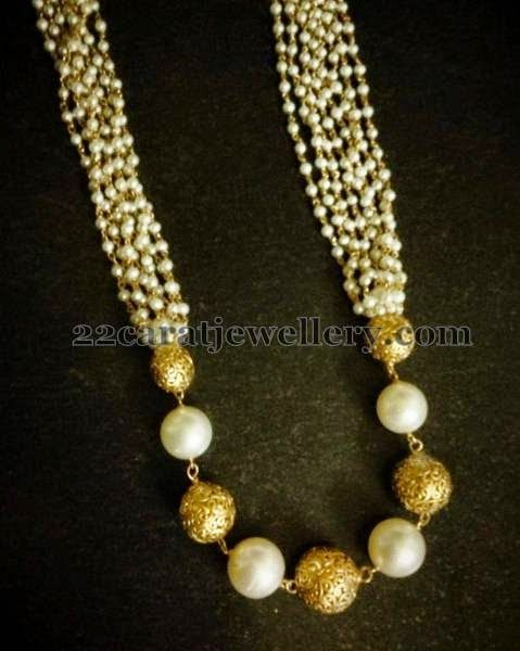 Jewellery Designs: Pearls and Gold Beads Set