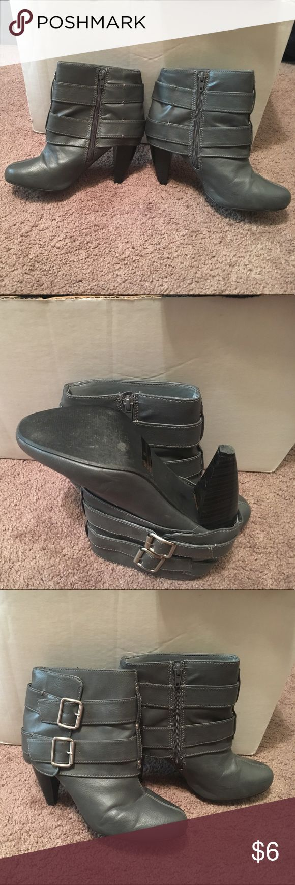 Rue 21 Gray Zip Up High Heel Boots Gray zip up high heel boots made by Rue21. 2 buckles on side for looks. Gently used. If you like any of my listings, please feel free to make a bundle or make an offer :) Rue 21 Shoes Ankle Boots & Booties