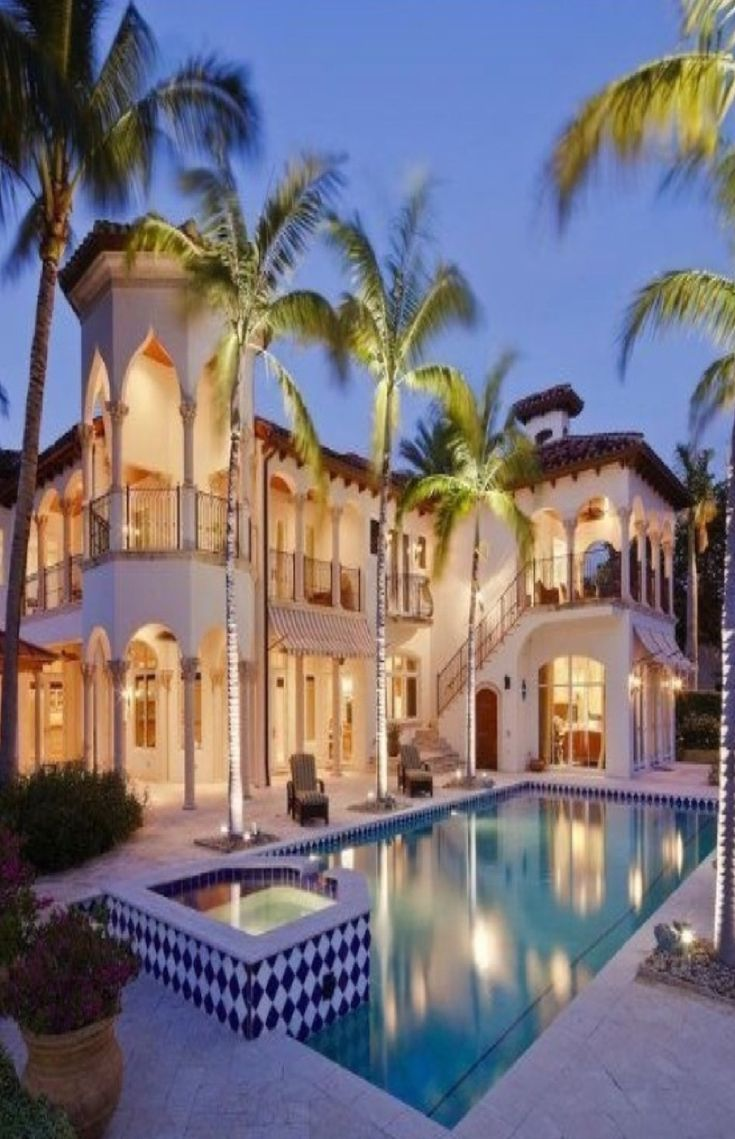 Luxury Mansions feat pool and ground tree light fixtures