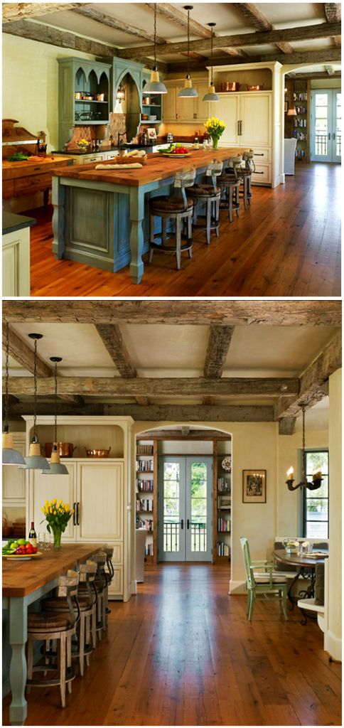 Love this kitchen, the wood floors, the colors