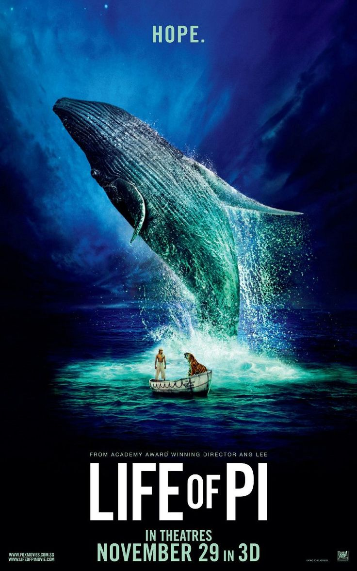 Life of Pi (2012) -- Great movie A young man who survives a disaster at sea is hurtled into an epic journey of adventure and discovery. While cast away, he forms an unexpected connection with another survivor: a fearsome Bengal tiger.