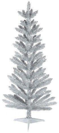 Wondershop 4.5ft Unlit Slim Artificial Christmas Tree White/Silver Alberta