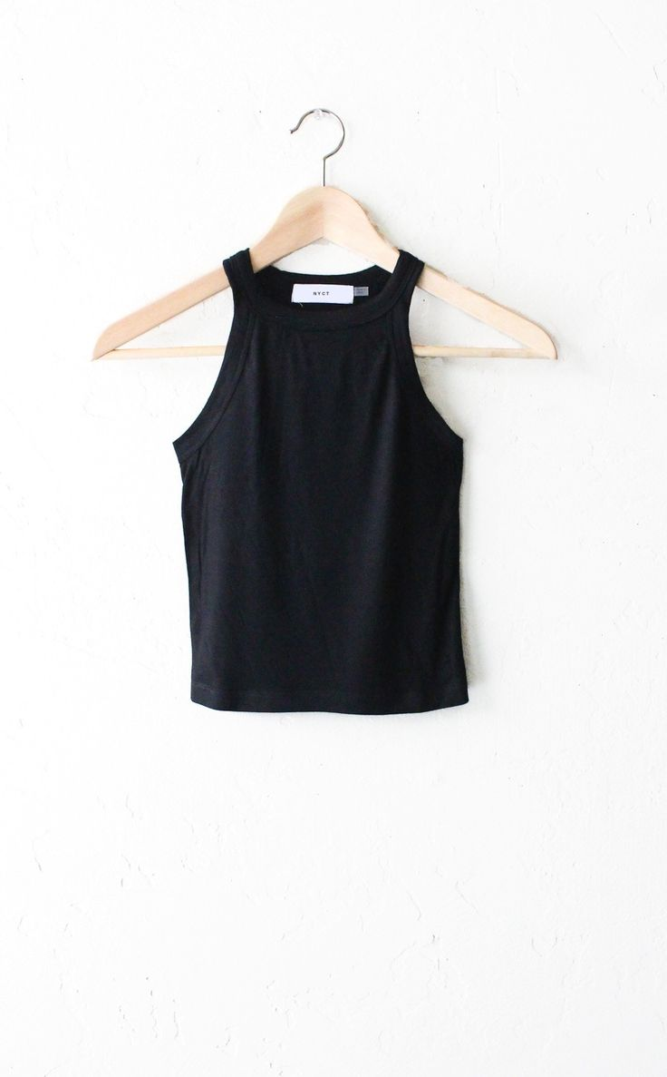 "- Description Details: Knit ribbed sleeveless crop top in black. Form fitting, tend to run on the smaller side & are more fitted. Measurements: (Size Guide) S: 24"" bust, 16"" length M: 26"" bust, 17"" le"