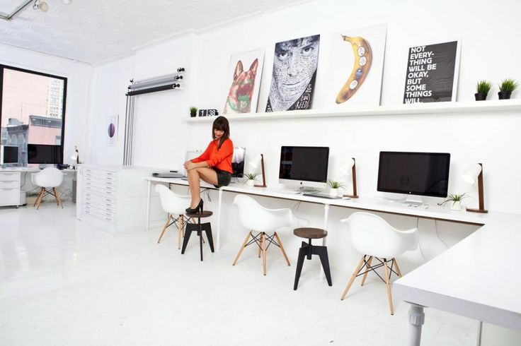 Perfect Furniture: Modern Computer Desk Designs For IMac, Modern White Long IMac  Desk For Shared With White Chic Chairs   Home Decor   Pinterest   Computer  Desk ...