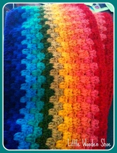 Rainbow Crochet Rug I am working on for my little boy!