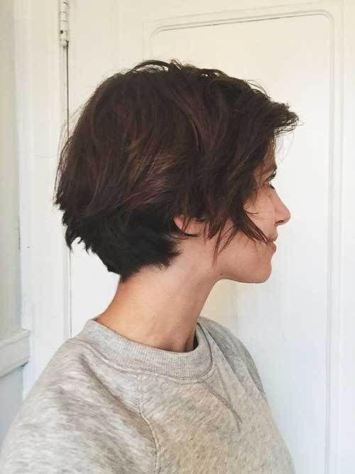 15 Wonderful Brown Short Hairstyles:    #3. Layered Dark Brown Bob Style; #shorthair; #bobhaircuts; #layered