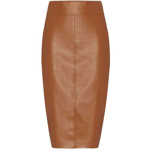 Bailey 44 Faux Leather Pencil Skirt: Cognac (£235) ❤ liked on Polyvore featuring skirts, brown, vegan leather pencil skirt, brown skirt, zipper skirt, faux leather skirt and knee length pencil skirt