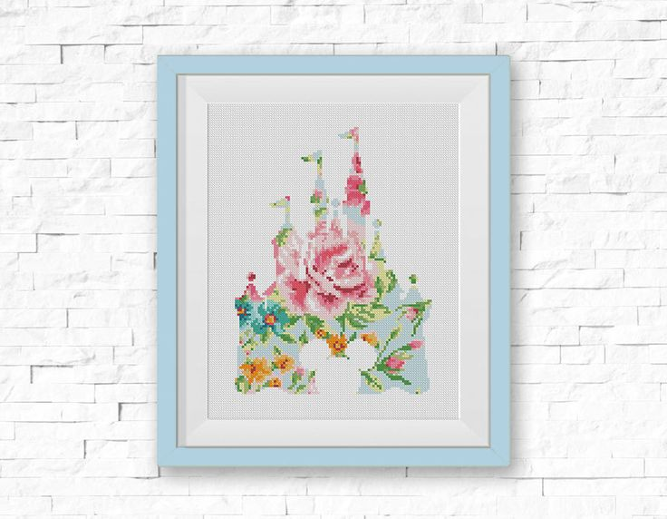 BOGO FREE! Disney Cross Stitch Pattern, Floral Disney Castle Flowers Silhouette Counted xStitch , Modern Decor, PDF Instant Download #025-23 by StitchLine on Etsy https://www.etsy.com/listing/492962344/bogo-free-disney-cross-stitch-pattern