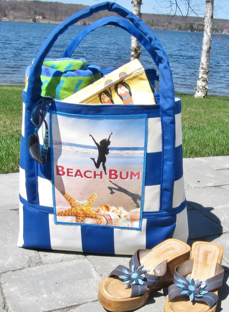 This was my first attempt at a beach bag, and I was inspired by Morgan Hoffman's photo of herself on vacation in Hiltonhead, SC. I sent it to her for her birthday which is July 9. She received it and posted her thanks on Twitter and Facebook--what a sweetie!