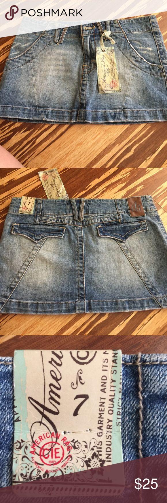 Brand new American Rag jean skirt Size 7 brand new American Rag Jean Skirt paid 39 at Macy's for it never got to wear it American Rag Skirts Mini