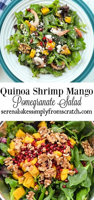 Quinoa Shrimp Mango Pomegranate Spinach Salad. A healthy, easy to make salad perfect for lunch or dinner. serenabakessimplyfromscratch.com