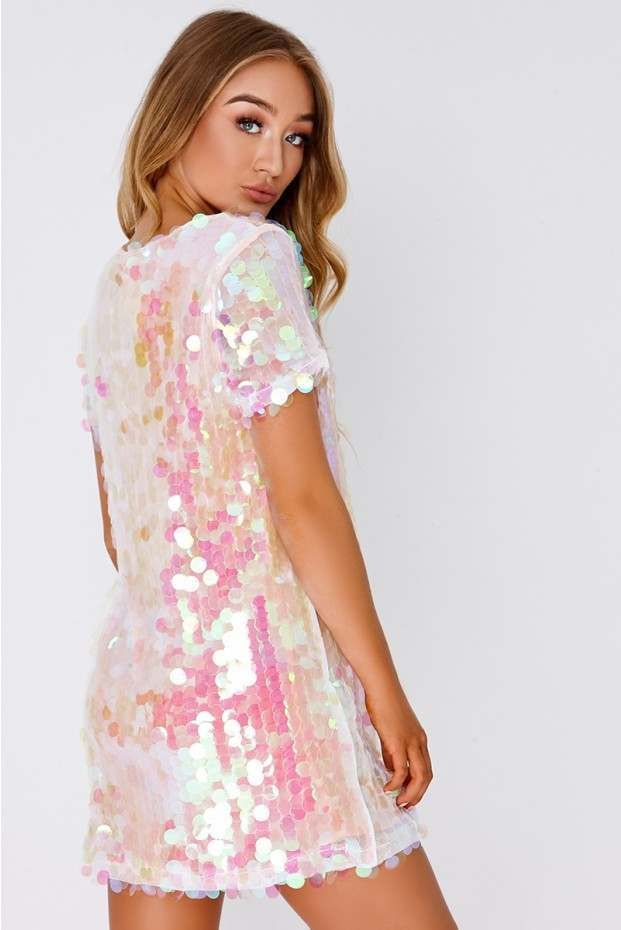 c4a3f991586d Darcell white iridescent sequin t shirt dress in 2019 | Costume ...