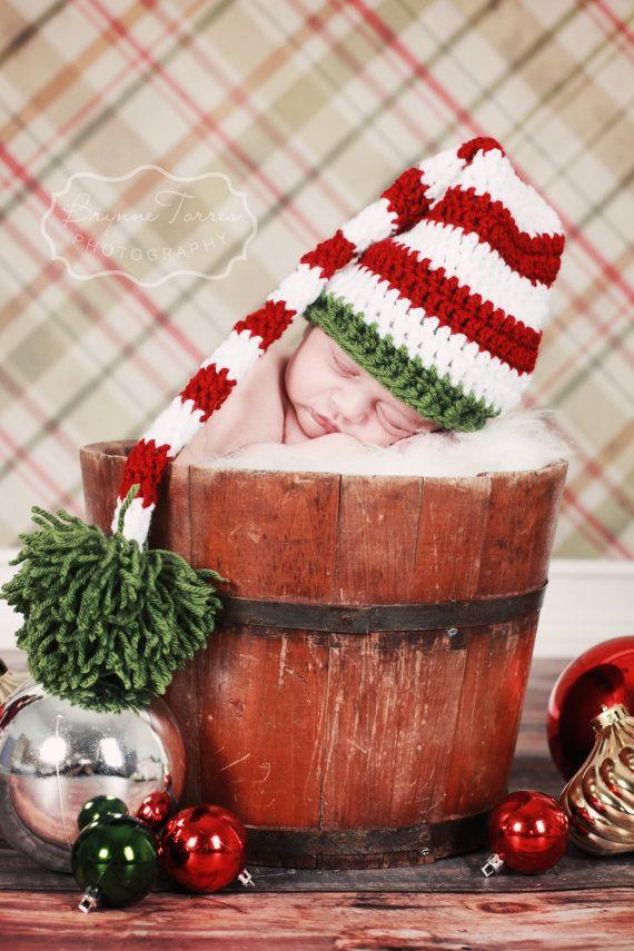 Crochet Elf Hat long stocking cap crochet long tail par AllHookdUp