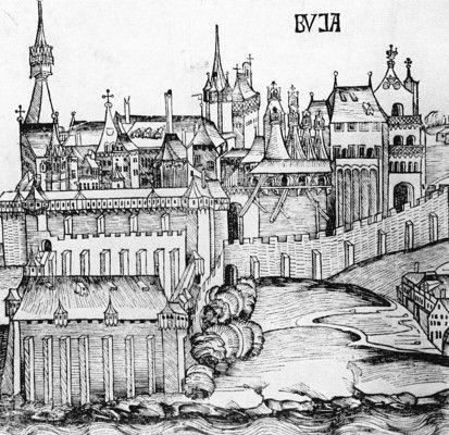 Hartmann Schedel: Weltchronik, Buda látképe, részlet, 1493, Budapest, Országos Széchényi Könyvtár, fametszet.