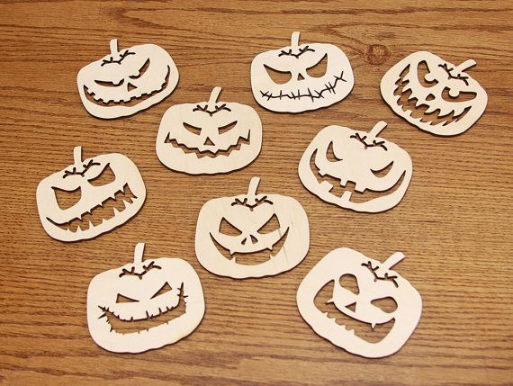 Set of 9 coasters for mugs. Quadratic pumpkin. Birch by huuhka