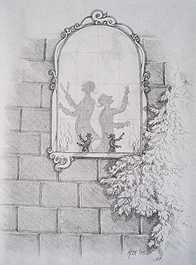 Emperor's new clothes. Pencil on paper 1995