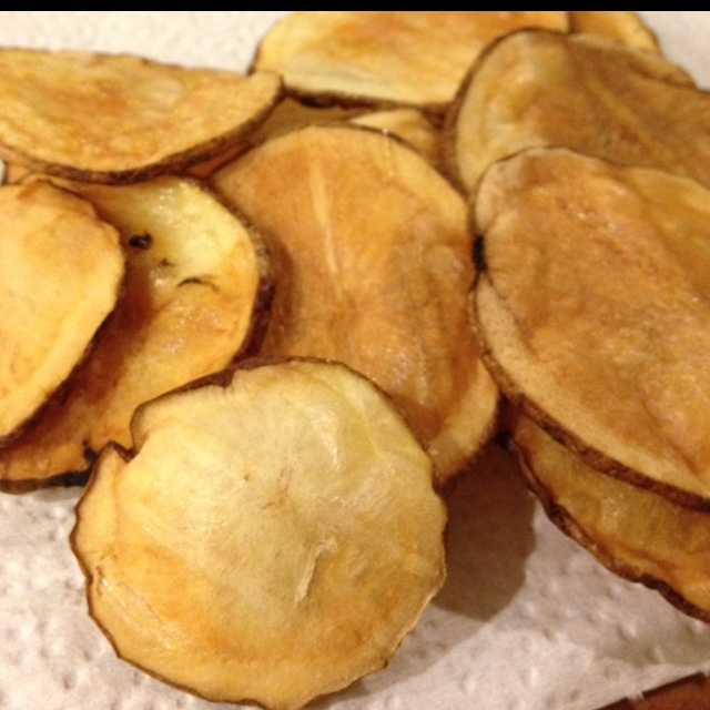 Baked potato chips in the nuwave. Not really inspired by pinterest, but didn't know where else to put it. Haha