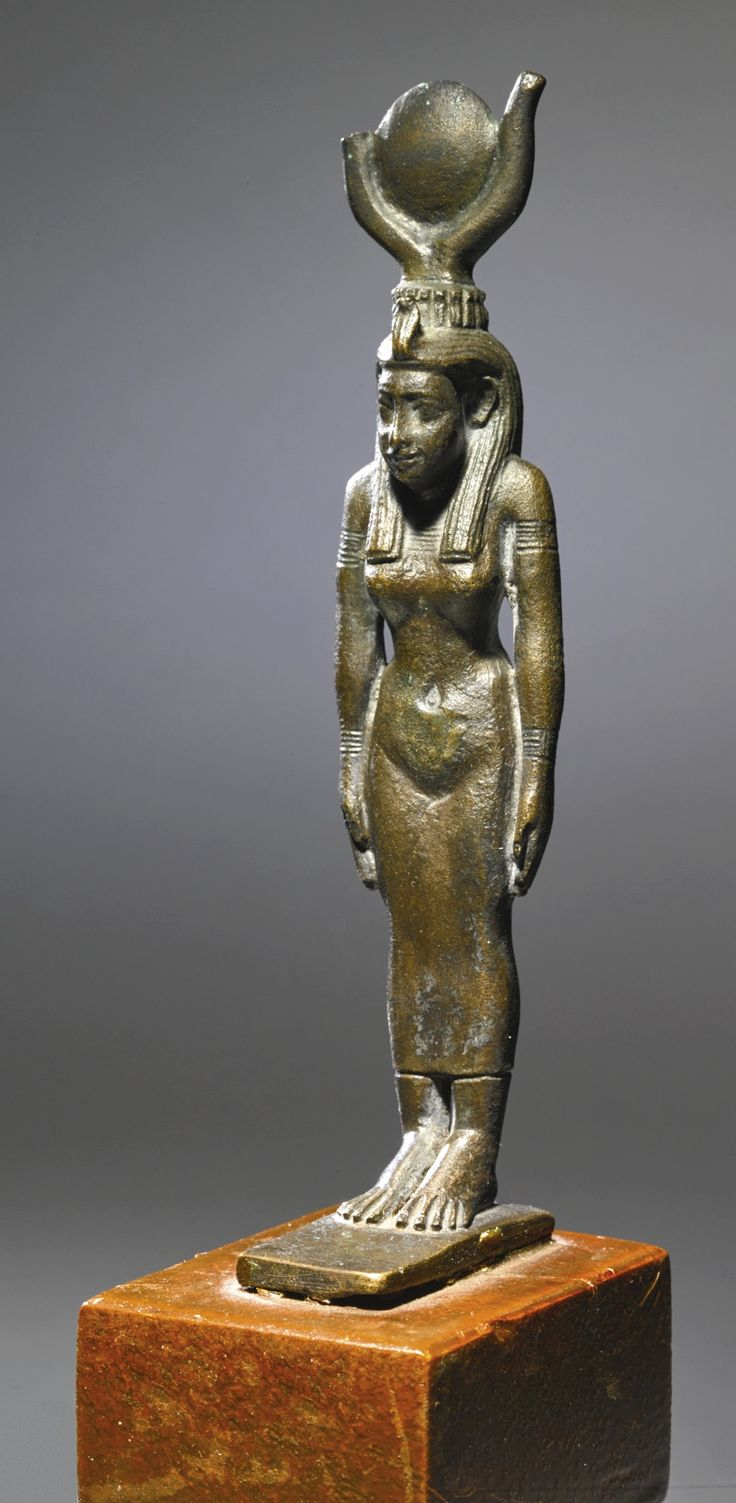 An Egyptian Bronze Figure of a Goddess, 26th/30th Dynasty, 664-342 B.C. | lot | Sotheby's: