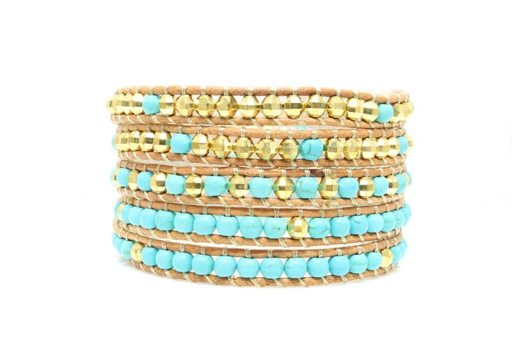 HOLLYWOOD Wrap Bracelet by #Beautiz. Beautiful 5 layer handcrafted leather wrap bracelet. Real Turquoise stones with golden beads. Stainless Steel and Nickel-Free Clasp. Shop here: http://www.beautiz.net/english/fashion-jewelry/bracelets/wrap-bracelets/hollywood-wrap-bracelet.html