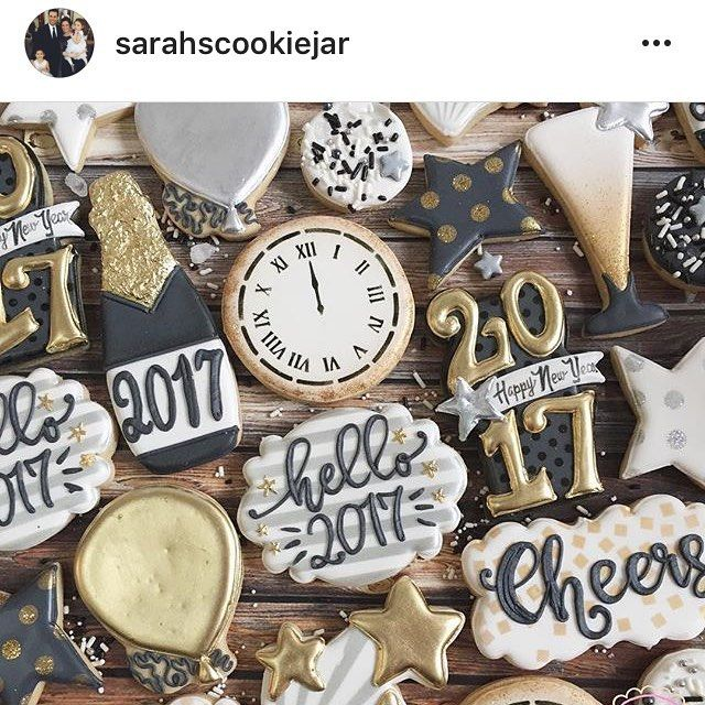 These gorgeous cookies are brought to you by @sarahscookiejar (love her) Cheers plaque is one of my new plaques released at Christmas ...Star, flute and 2017 cookies were made with cutters created for this month's Sweet Box. Each cutter in the box was based on either real life party objects found via Pinterest or clipart.  Other plaque and balloon cutter are from @whiskedawaycutters #sweetleighprinted #decoratedcookies #sarahscookiejar #sherocks