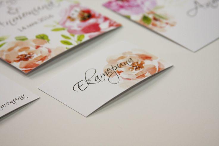 Карточки рассадки Цветочная акварель
