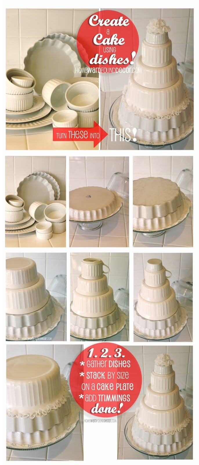 Create a cake using dishes.