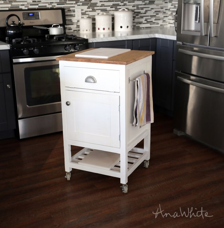 32 Simple Rustic Homemade Kitchen Islands: Build A HOW TO: Small Kitchen Island Prep Cart
