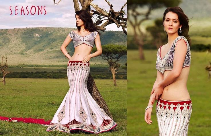 White. It's so beautiful I love there collection ♥  Hindu / indian bride Wear saree, lehenga, choli from seasonsindia. the model is Neha Dalvi or maria sokolovski