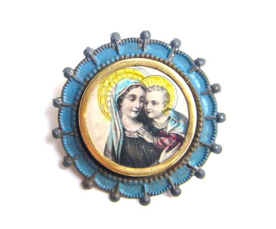 Antique Vintage Religious Virgin Mary Our Lady Child by pragensia