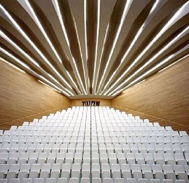 Modern auditorium in concert pinterest modern hall for Sitting hall design