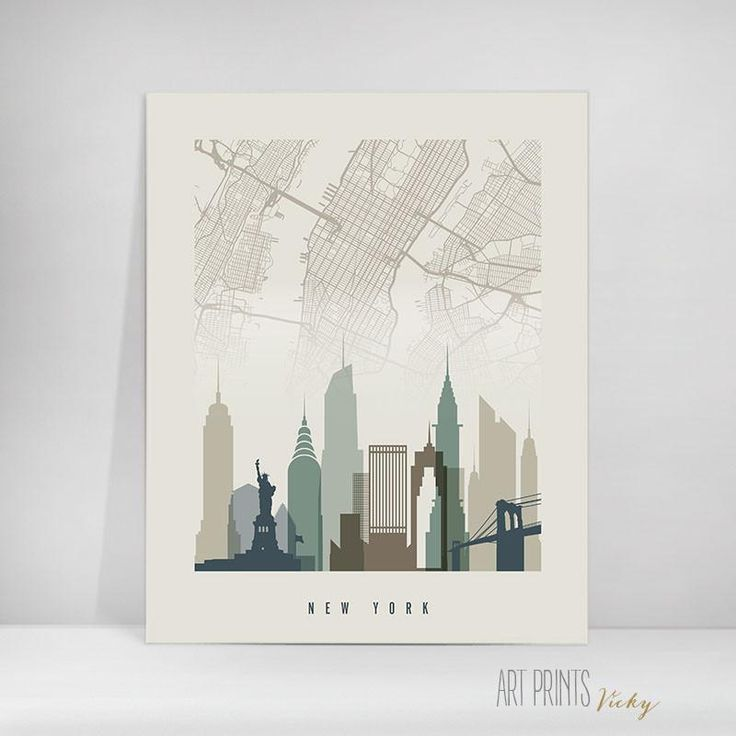 New York City map earth colours skyline poster