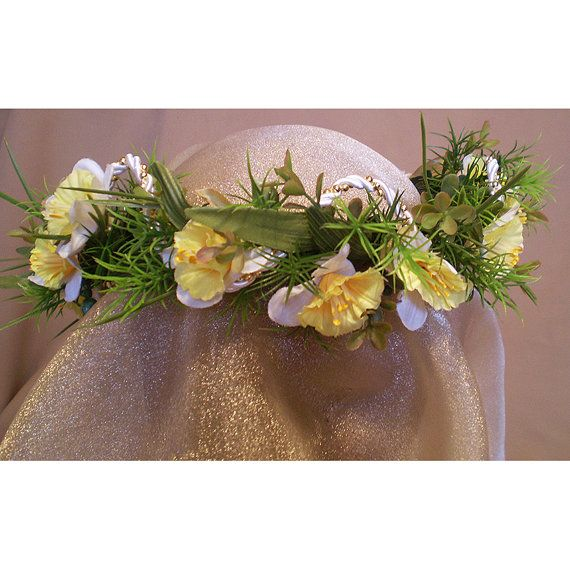 floral head wreath jonquil bridal crown womens by TwilightFaerie #wedding #fairy #renaissancefair #halloweenartistbazaar