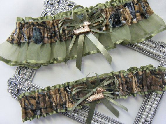 Duck Hunting CAMOUFLAGE wedding garters Duck by SheerSatinandLace, $29.99