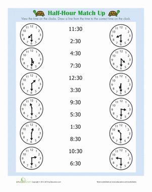 Practice telling time to the half hour with your first grader with this matching worksheet.