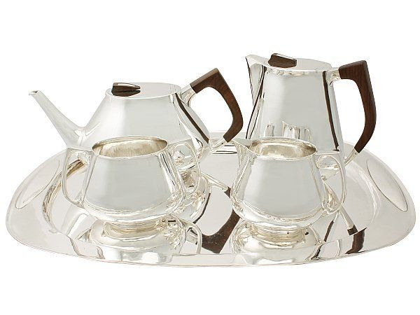 Sterling Silver Four Piece Tea and Coffee Service with Tray - Design Style - Vintage Elizabeth II SKU: A4303 Price GBP £5,950.00 http://www.acsilver.co.uk/shop/pc/Sterling-Silver-Four-Piece-Tea-and-Coffee-Service-with-Tray-Design-Style-Vintage-Elizabeth-II-67p8081.htm