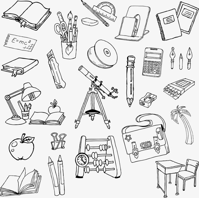 Cartoon Artwork Painted School Supplies School Clipart Cartoon